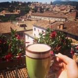 Homemade cappuccino on the balcony